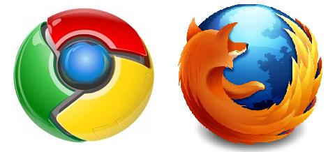 Google Chrome と Mozilla Firefox ロゴ