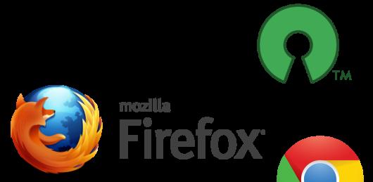 オープンソースとFirefox、Chromeのイメージ