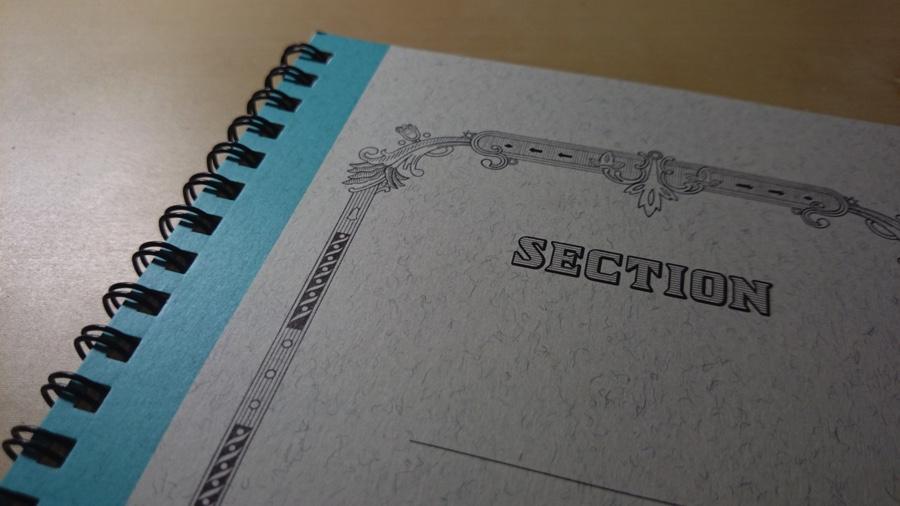 ツバメノート スパイラルノート セクション表紙1